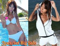 Bikinis Big Discount!!! Bikini Set+hooded Romper Tank White/black Sexy Swimwear For Women Cheap Swimsuit Super Deal For 3pcs