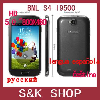 Free Shipping BML S4 i9500 9082 Android Phone 5 inch  SC6820 1GHz 256MB RAM WiFi Bluetooth GSM Smart phones FeiTeng