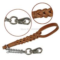 "New Arrival  Brown Braided Genuine Leather Dog Leash 16"" Length Heavy Duty Leash High Quality"