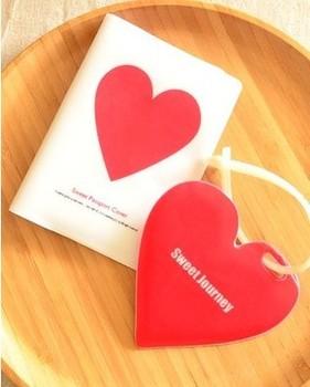 Красный Heart pattern passport bags, travel passport holder, cover for passport