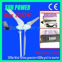 Free Shipping 1000W wind turine generators +1KW grid tie inverter with lcd display  +dump load resister AC 24V/48V(22V-60V)