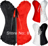 2014 NWT Sexy Women Corset Patchwork Gothic Bustiers Lingerie With Zipper Hot Shapers Body Corset + G-string 3 Color 4 Size S-XL