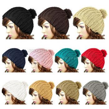 30X HK ! 2013 Hot!!! Women Ladies Wool Knit Knitted Beanie Vintage Bobble Winter Warm Cap Pom Pom Ski Hat 10 Colors for Xmas