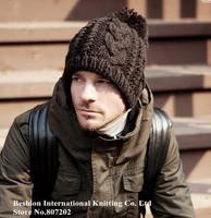 High quality Cheap fashion Winter wool  Warm sport Knitted Beanie hat Men's outdoor cotton black Casual Cap  Beanies Skullies
