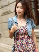 autumn -summer blue jean jackets women shrug short design cardigan denim coat korean woman coats women outerwear denim jackets