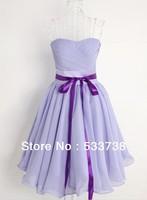 Custom Made 2013 Hot Sale Bandage Dress Women Chiffon Bridemaid Dress Bow Strapless  Elegant Evening Dresses