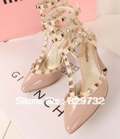 Free shipping 2014 new pointed toe sandals rivet shoes japanned leather thin heels women pumps rivets shoes