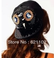 New  Hat Men Snapbacks Hats Punk Rock Studed Hip Hop Cap Bling Baseballs Owl Rivet Hat Unisex Free Shipping