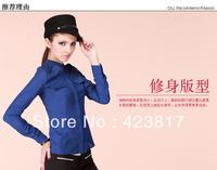 The New Shirts 2013 New Big Yards Women Chiffon Shirt Long Sleeve Chiffon Collar Cultivate one's Morality