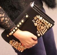 New Euramerican Fashion Rivet Diamond Inlaid leather Handbags TOP PU Free Shipping WB007