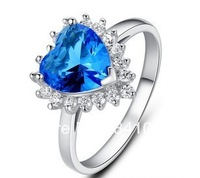 Factory Wholesale Price 925 Sterling Silver Hip Hop Jewelry CZ Rings With Blue Heart Stone Shiny Style SRF03