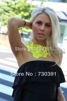 Free shipping Fashion 2013 New Jewerly NEON Yellow Crochet Lace Bib Statement Necklace False Collar