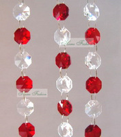 Christmas Decorative Crystal Garland/Strand 10 meters/lot, 14mm Octagon Crystal Beads, Red with Clear color, free shipping
