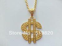 Anodized gold necklace with fashion dollars logo