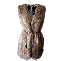 CAP057 free shipping Women Faux Fur Vest  Women Sleeveless Fur Coat Long Fur Coat Outerwear