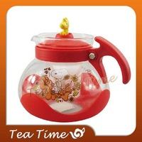 Free Shipping Snoopy Cartoon Glass Flower  Fashion Healthy Tea Pot Red and Orange for Choice