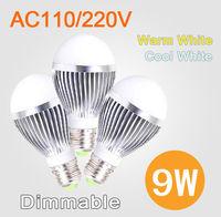 Free Shipping 9W/15W LED Bulb Bubble Ball High Power E27 GU10 E14 B22 Dimmable Lamp Light,AC85-265V,Cool/Warm White