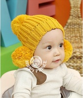 Free Shipping 1pc Baby Hat Double Ball Ear Cap Hat Infants Children hat Warm Thick Wool Hat For Baby GIft CL0214