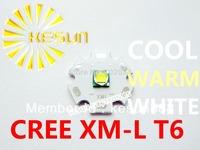 FREE SHIPPING 10PCS ORIGINAL CREE Xlamp XML XM-L T6 U2 10W High Power LED Emitter Bulb with 20mm Heatsink For Flashlight DIY