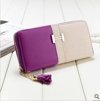 2013 new wallet!! free shipping women's fashion purse,patchwork color faunsi genuine leather wallet women's leather purse