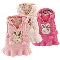 2014 Autumn Winter Children Clothing Baby Girls Coral Fleece Rabbit Fashion Design Vest Dresses Kids Dress, Free Shipping MY063