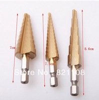 "Free Shipping 3pc Quick-change 1/4"" Hex Shank larger Titanium Coated Step Drill Bit Set"