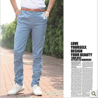Freeshipping,2013 New Arrival Sprining&Autumn Solid Color Slim Fit Design Pants.Top Korean  Casual Design Trouser With Belt