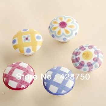 38mm Ceramic Knobs Bedroom Kitchen Door Cabinet Cupboard Knob Pull Drawers Handle (Style Optional, 5 pieces/lot)