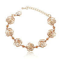 Exquisite Fashion Design Crystal Camellia Flower Design Rose Gold Bracelet Girls Vintage Jewelry Female  Accessories