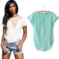 European Style Women's Carved Hollow Out Chiffon Shirt Short Batwing Sleeve Spring Summer Tops Lady Blouse Size S M L nz109