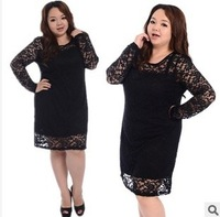 Free shipping  2013 fashion women plus size  clothing women plus dress autumn black lace  knee-lenght dress 620