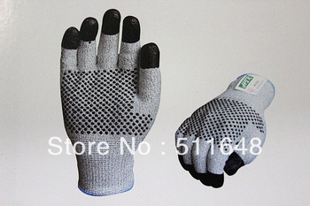 Free shipping 0050 Super Dyneema cut resistant finger dip Nitrile gloves with PVC dots