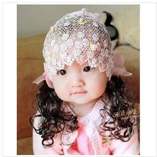 (Min order $10,can mix order)  children baby with hollow out lace hairnet girls long wigs hair two color optional