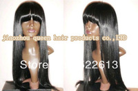 [Freeshipping+gift+top quality ] silk straight 100% virgin indian human hair full lace wigs with full bangs no shedding tangle