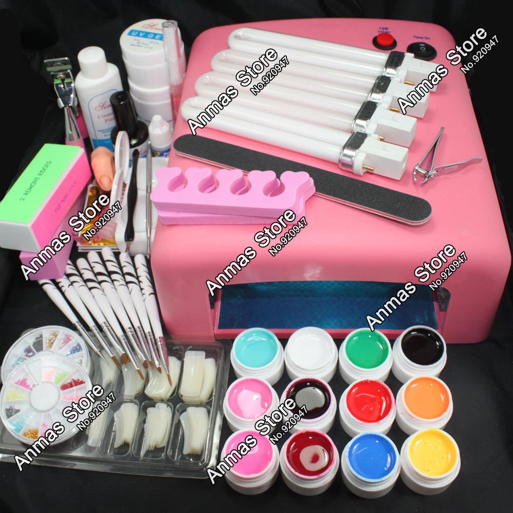 Pro 36W UV GEL Pink Lamp & 12 Color UV Gel Natural Color Tips Practice Fingers Cutter Nail Art DIY Tool Kits Sets(China (Mainland))