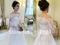 New arrivals 2014 Lace sweetheart neckline off shoulder Long lace sleeve Wedding dress Bridal gown dress BO1900