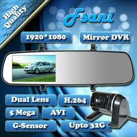 New Highscreen Dual Lens 4.2Inch Rearview Full HD1280*720 30FPS 5.0MP Car Recorder DVR Black Box Video Cmaera Genssor + H.264