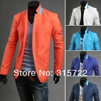 fashion autumn winter men's color striped suit, plus size blazers M,L,XL,XXL With white,blue,navy blue,orange,sky blue XY-B018