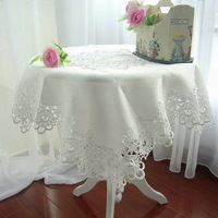 "Size:85x85cm(34x34"") Fashion white embroidered tablecloth  lace table cloth (White/ Ecru color)"
