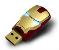Wholesale Sale Flawless Avengers Iron Man LED Flash 4GB 8GB 16GB 32GB  USB Flash 2.0 Memory Drive Stick Pen/ThumbCar