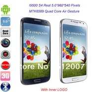 "Cheap Cell Phones I9500 S4 MTK6589 Quad Core Android 4.2 Phone Real 5.0""960*540 3G Smartphone Air Gesture DHL EMS Shipping"