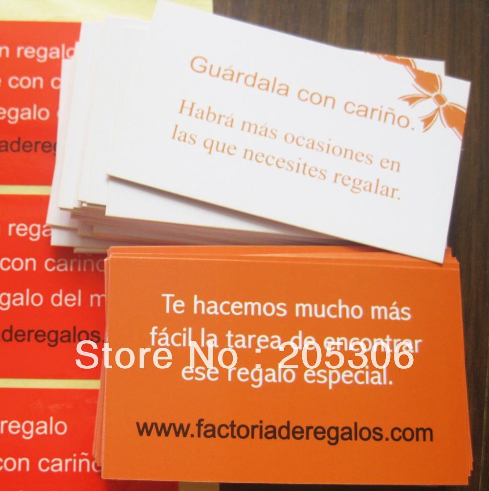 1500pcs/lot 9x5.4cm Visit Card 300gsm paper material Item no.CU30, Free shipping(China (Mainland))