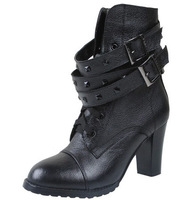 Free shipping 2013 winter Korean version of the thick-soled high heel leather motorcycle boots