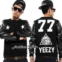 Top quality men sportswear leather sleeve hip hop sweatshirt fleece  YEEZY 77 autumn winter man hoody streetwear plus size XXXL