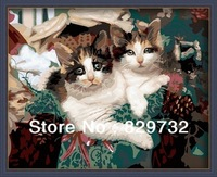 JIUJIU DIY digital oil painting Free shipping picture unique gift home decoration 40X50cm Cute cat paint by number