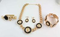 NEW Fashion Gold Plated Lion Head Bib Royal Necklace bracelet Rings Earrings set