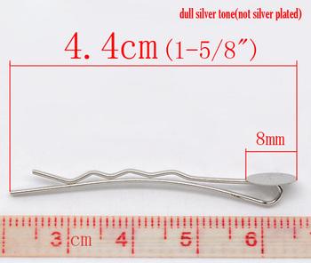 100 Silver Tone Bobby Pins Hair Clips W /Glue Pad (B11530)8seasons