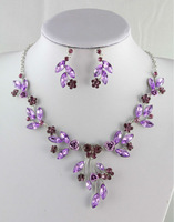 2013 New Fashion PINK Flower Austrian Rhinestone Crystal Necklace Earring Set