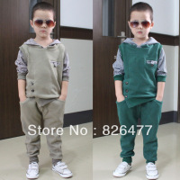 2013 autumn Children clothing sets male casual child clothing set kids clothes twinset Boys clothes sports Sweater + Trousers