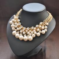 195g Female Fashion Short Design Simulated-pearl Necklace EU002 Free Shipping